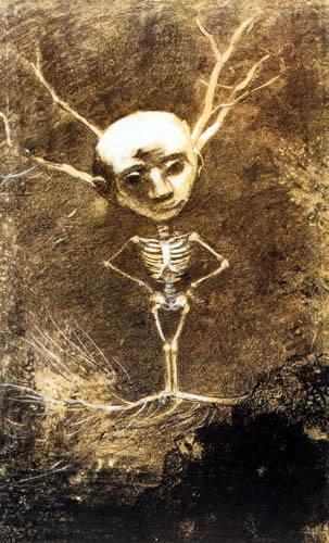 Odilon Redon - Man skeleton