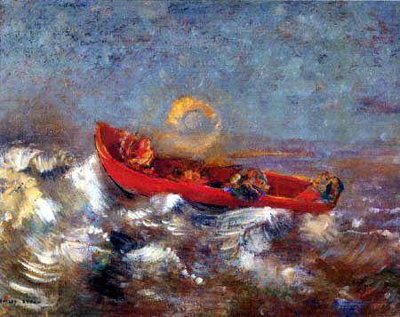 Odilon Redon - Le bateau rouge