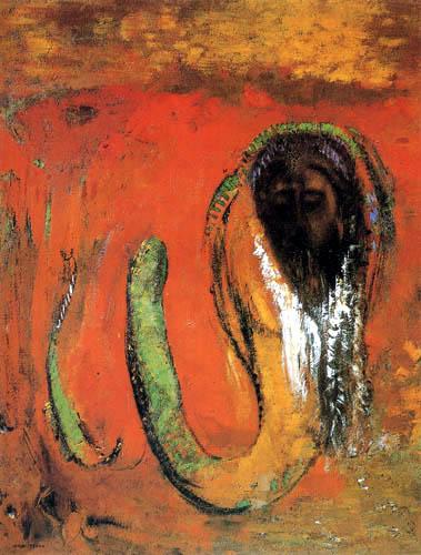 Odilon Redon - Tête du Christ et de serpent
