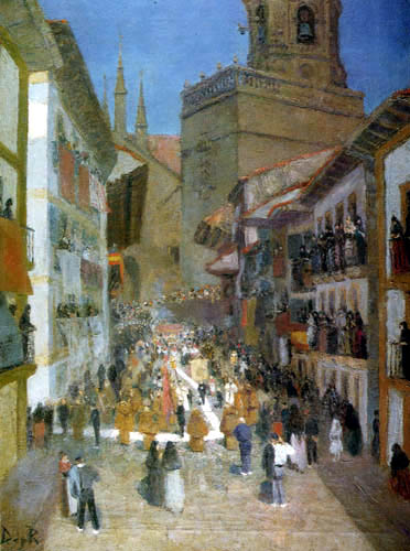 Darío de Regoyos y Valdés - Fronleichnamsprozession in Fuenterrabia