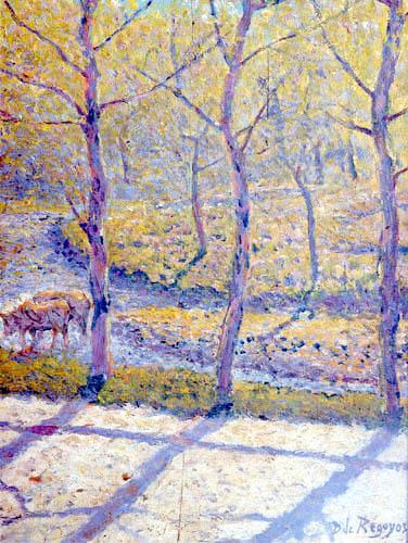 Darío de Regoyos y Valdés - Trees and oxen