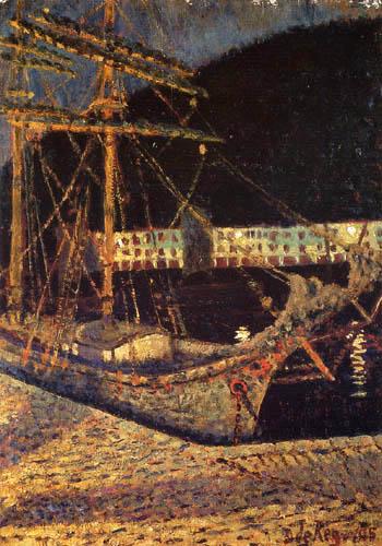 Darío de Regoyos y Valdés - Nachts im Hafen von San Sebastián