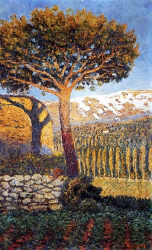 Darío de Regoyos y Valdés - Pine and snow-covered summits, Navarrese