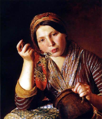 Johann Baptist Reiter - Woman, noodles eating