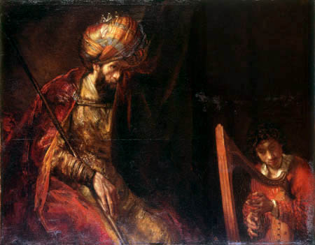 Hermansz. van Rijn Rembrandt - David plays the lyre for King Saul