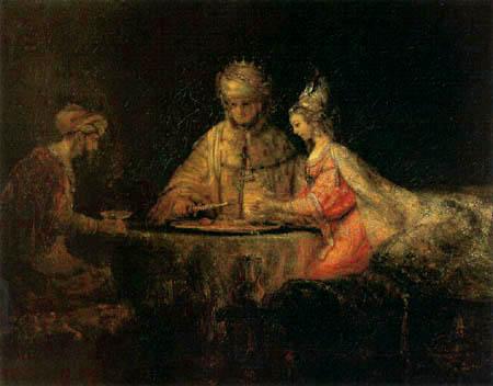 Hermansz. van Rijn Rembrandt - Haman, Esther und Ahasverus