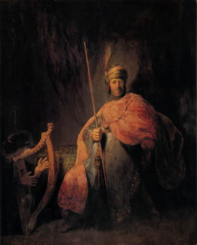 Hermansz. van Rijn Rembrandt - David plays the lyre for King Saul