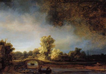 Hermansz. van Rijn Rembrandt - Landschaft mit Steinbrücke