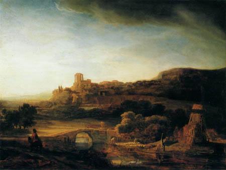 Hermansz. van Rijn Rembrandt - River landscape with ruins