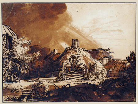 Hermansz. van Rijn Rembrandt - Farmhouses before thundery sky