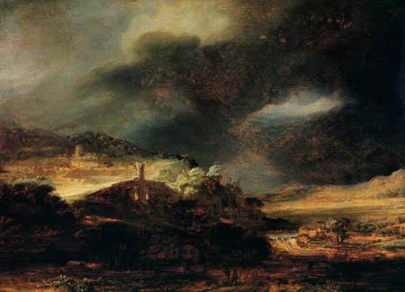 Hermansz. van Rijn Rembrandt - Thunderstorm landscape