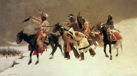 Frederic Remington - Indianertrupp mit Gefangenen