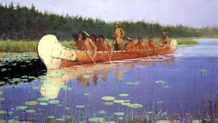 Frederic Remington - Erkundungsfahrt im Kanu