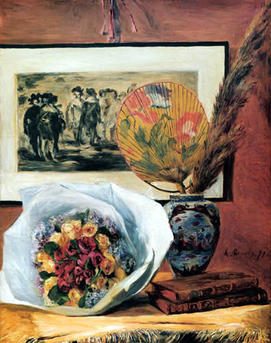 Pierre Auguste Renoir - Bunch of flowers and fan