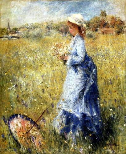 Pierre Auguste Renoir - Mädchen beim Blumenpflücken