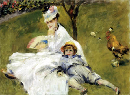 Pierre Auguste Renoir - Camille Monet with son