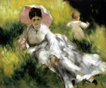 Pierre Auguste Renoir - Woman with parasol and child