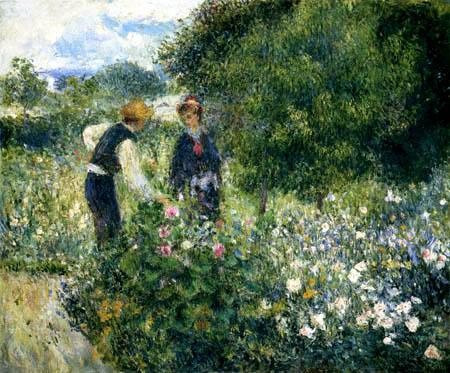 Pierre Auguste Renoir - Beim Blumenpflücken