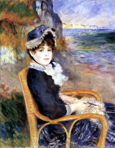 Pierre Auguste Renoir - Sitzende Frau am Meer