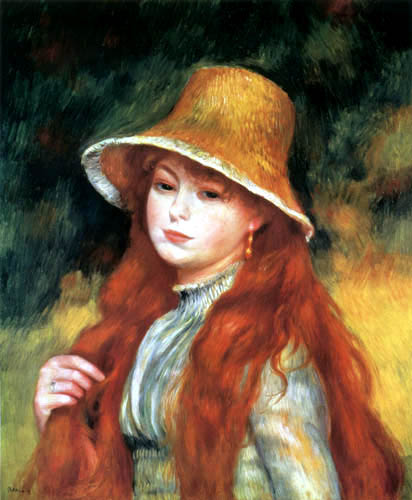 Pierre Auguste Renoir - Mädchen mit Strohhut