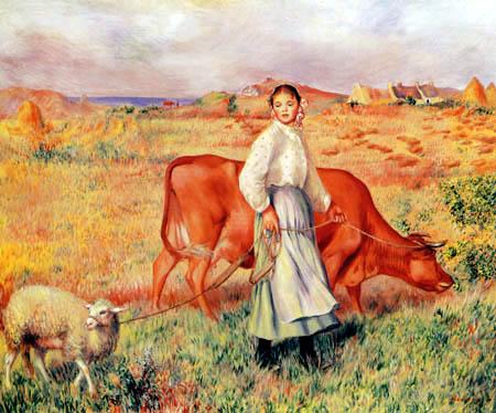 Pierre Auguste Renoir - Schäferin mit Kuh und Schaf