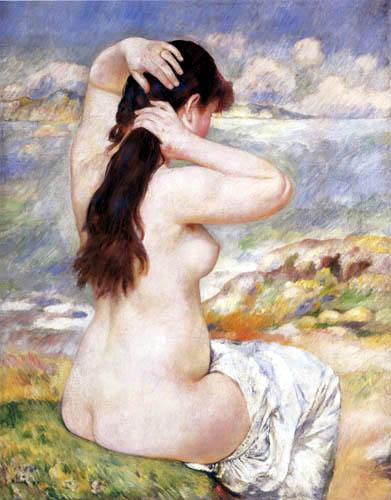 Pierre Auguste Renoir - Badende, Ihr Haar ordnend