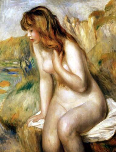 Pierre Auguste Renoir - Badende auf einem Felsen