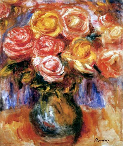 Pierre Auguste Renoir - Vase with roses