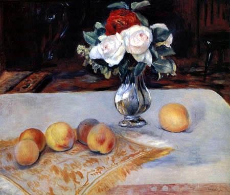 Pierre Auguste Renoir - Stillleben mit Pfirsichen und Blumen