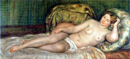 Pierre Auguste Renoir - Nude on the cushion