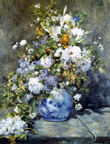 Pierre Auguste Renoir - A vase with flowers