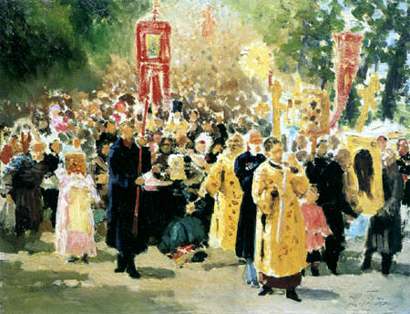 Ilja Jefimowitsch Repin - A Religious Procession in the oak forest, study