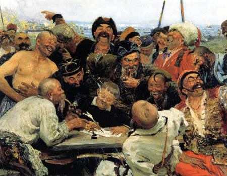 Ilja Jefimowitsch Repin - Reply of the Zaporozhian Cossacks to Sultan Mehmed IV of Ottoman Empire