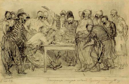 Ilja Jefimowitsch Repin - Reply of the Zaporozhian Cossacks, Study