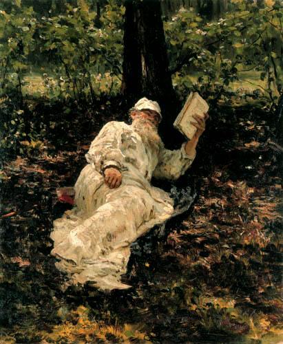 Ilja Jefimowitsch Repin - Lew Tolstoi lesend im Walde