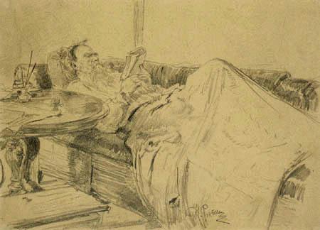 Ilja Jefimowitsch Repin - Tolstoi auf dem Sofa