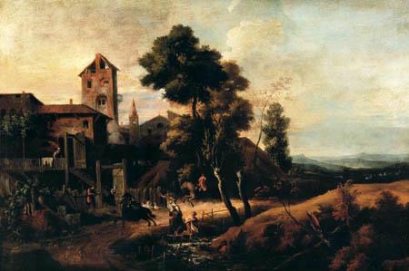 Marco Ricci - Landschaft mit ländlichen Leben