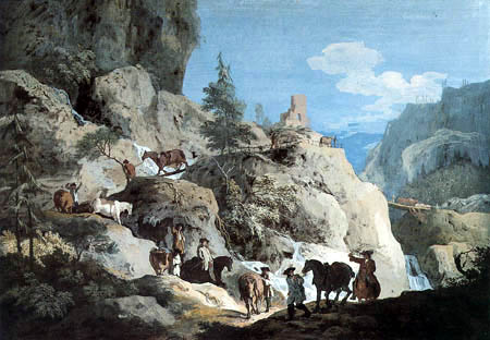 Marco Ricci - Alpine landscape with travelers