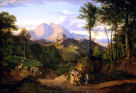 Adrian Ludwig Richter - Rocca di Mezzo im Sabinergebirge