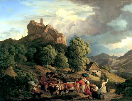 Adrian Ludwig Richter - Aufziehendes Gewitter am Schreckenstein