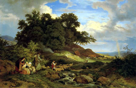 Adrian Ludwig Richter - Bohemian landscape with shepherds