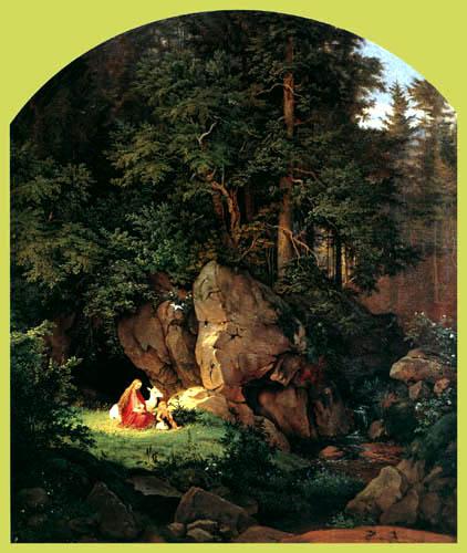 Adrian Ludwig Richter - Genoveva im Wald