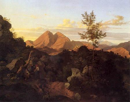 Adrian Ludwig Richter - Evening in Rocca di Mezzo