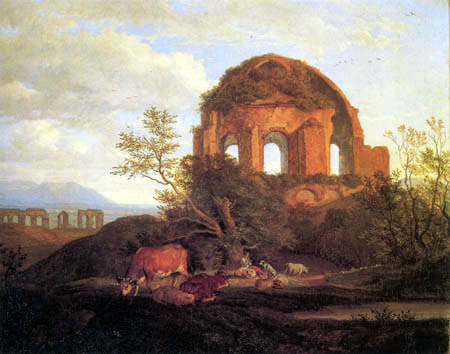 Adrian Ludwig Richter - The Minerva temple, east of Rome
