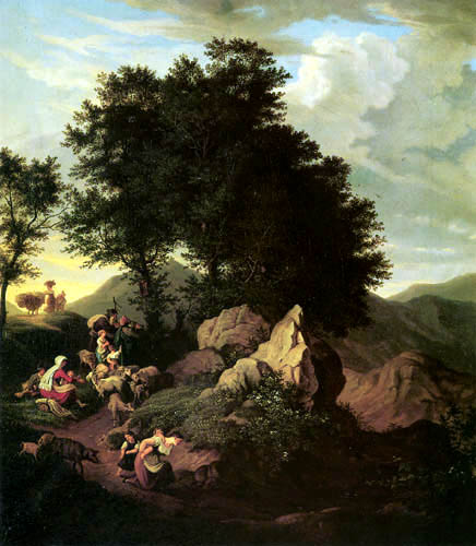 Adrian Ludwig Richter - Hirten vor einem Andachtsbild