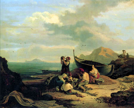 Adrian Ludwig Richter - View of Bajae of Capri