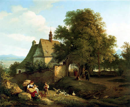 Adrian Ludwig Richter - St. Anne Church of Krupka in Bohemia