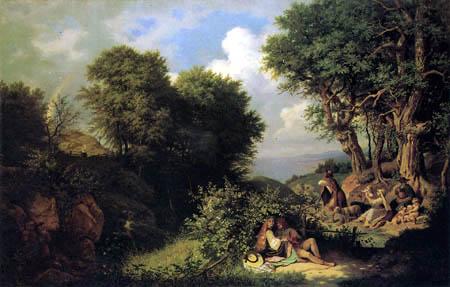 Adrian Ludwig Richter - Junilandschaft mit Regenbogen