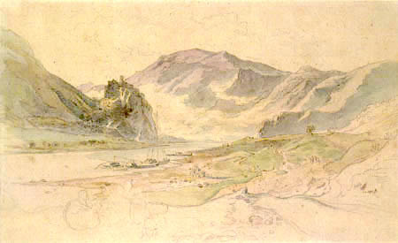 Adrian Ludwig Richter - The Elbe Valley in Aussig with the ruins of Schreckenstein