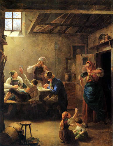Eduard Ritter - Sunday by the farmhands